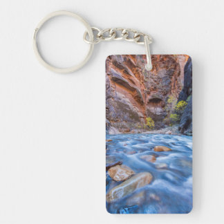 The Narrows Of The Virgin River In Autumn 3 Double-Sided Rectangular Acrylic Key Ring