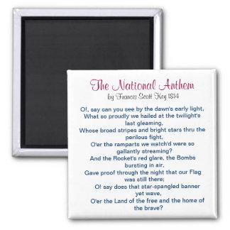 The National Anthem by Francis Scott Key 1814 Magnet