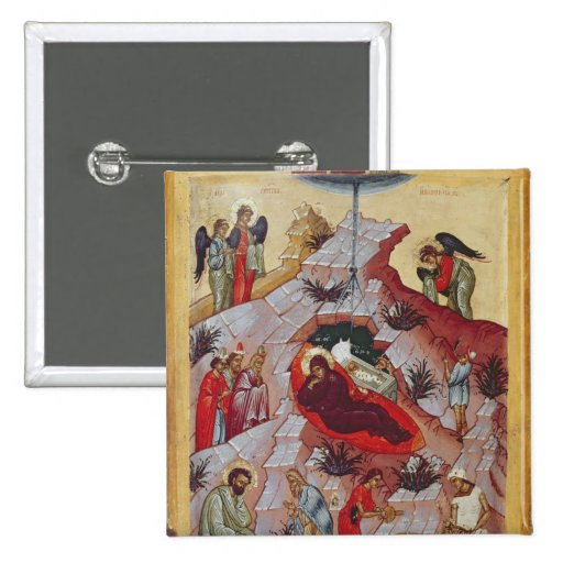 The Nativity, Russian icon, 16th century Pinback Buttons