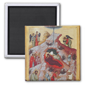 The Nativity, Russian icon, 16th century Square Magnet