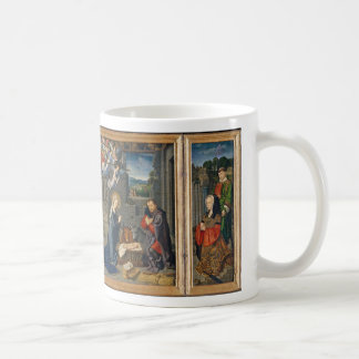 The Nativity Scene with Donors and Saints Coffee Mug