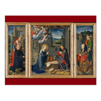 The Nativity Scene with Donors and Saints Postcard