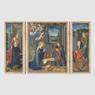 The Nativity Scene with Donors and Saints Rectangular Sticker