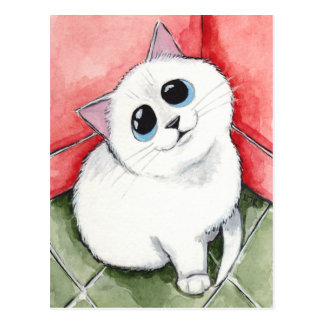 The Naughty Corner: Time's Up - Cat Art Postcard