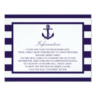 The Nautical Anchor Navy Stripe Wedding Collection 11 Cm X 14 Cm Invitation Card
