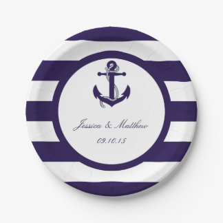 The Nautical Anchor Navy Stripe Wedding Collection 7 Inch Paper Plate