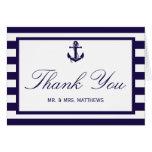 The Nautical Anchor Navy Stripe Wedding Collection Note Card