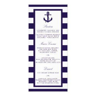 The Nautical Anchor Navy Stripe Wedding Collection Full Color Rack Card