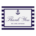 The Nautical Anchor Navy Stripe Wedding Collection Note Card