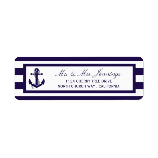 The Nautical Anchor Navy Stripe Wedding Collection Return Address Label