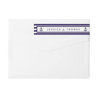 The Nautical Anchor Navy Stripe Wedding Collection Wraparound Return Address Label