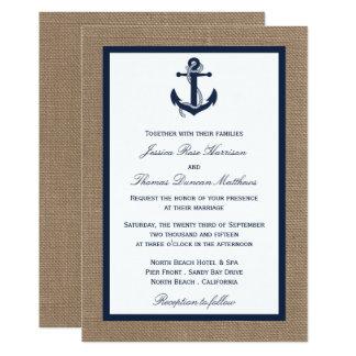 The Navy Anchor On Burlap Beach Wedding Collection 13 Cm X 18 Cm Invitation Card