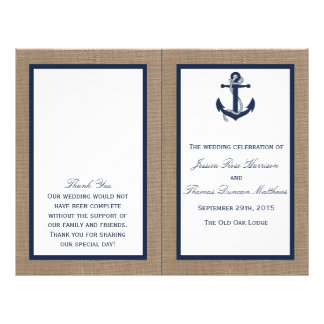 The Navy Anchor On Burlap Beach Wedding Collection 21.5 Cm X 28 Cm Flyer