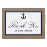 The Navy Anchor On Burlap Beach Wedding Collection Note Card