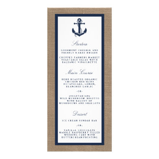 The Navy Anchor On Burlap Beach Wedding Collection Rack Card Template