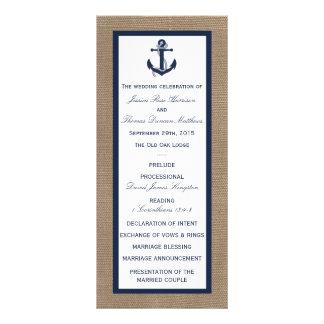 The Navy Anchor On Burlap Beach Wedding Collection Rack Card Design