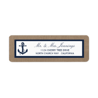 The Navy Anchor On Burlap Beach Wedding Collection Return Address Label