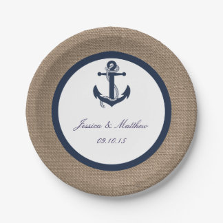 The Navy Anchor On Burlap Collection 7 Inch Paper Plate