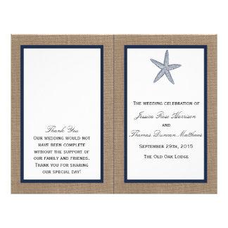 The Navy Starfish Burlap Beach Wedding Collection 21.5 Cm X 28 Cm Flyer