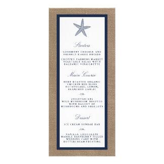 The Navy Starfish Burlap Beach Wedding Collection Rack Card Design