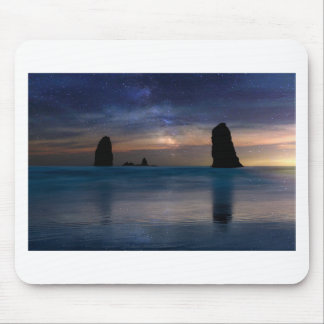 The Needles Rocks Under Starry Night Sky Mouse Pad