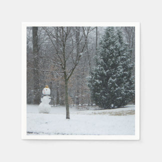 The Neighbor's Snowman Winter Snow Photography Paper Serviettes