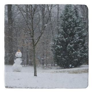 The Neighbor's Snowman Winter Snow Photography Trivet
