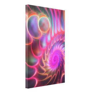 The Neon Spiral, artistic fractal wall art Canvas Print