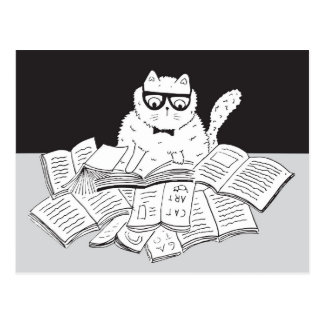 The Nerd Cat Postcard