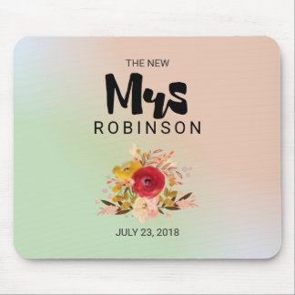 The New Mrs -  Floral Watercolor Bouquet Wedding Mouse Pad