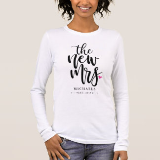 The New Mrs. (Name) With Your Wedding Year Long Sleeve T-Shirt