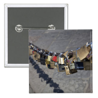the new tradition of 'locks of love' attached by 15 cm square badge