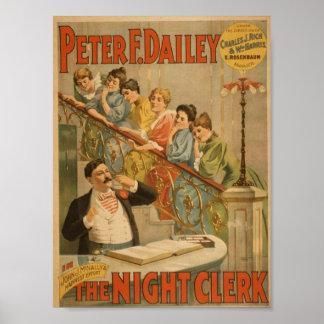 The Night Clerk Vintage Theater Print