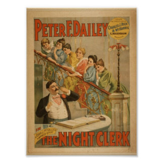 The Night Clerk Vintage Theater Poster