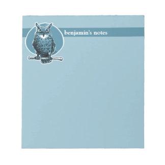 the night owl top of the stick cartoon notepad