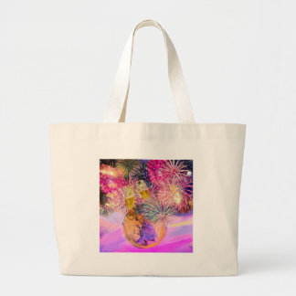 The night shines with fireworks large tote bag