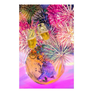 The night shines with fireworks stationery