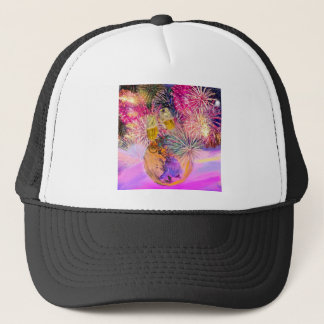 The night shines with fireworks trucker hat