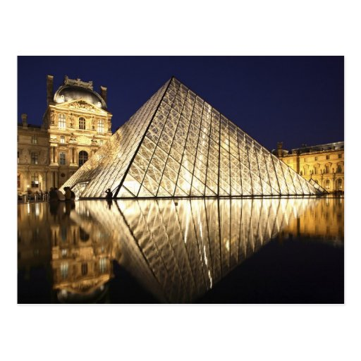 The night view of the glass Pyramid of Musee du Post Card