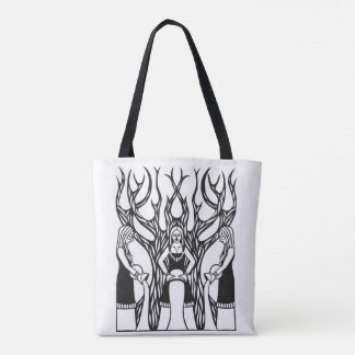The Norns black and white papercut design Tote Bag