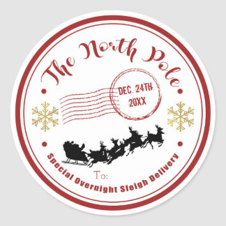 The North Pole Sleigh Overnight Delivery Christmas Classic Round Sticker