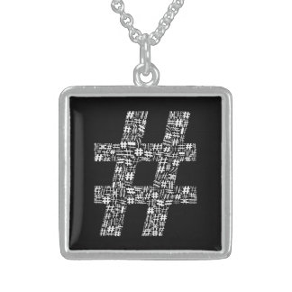 The Number Sign Square Pendant Necklace