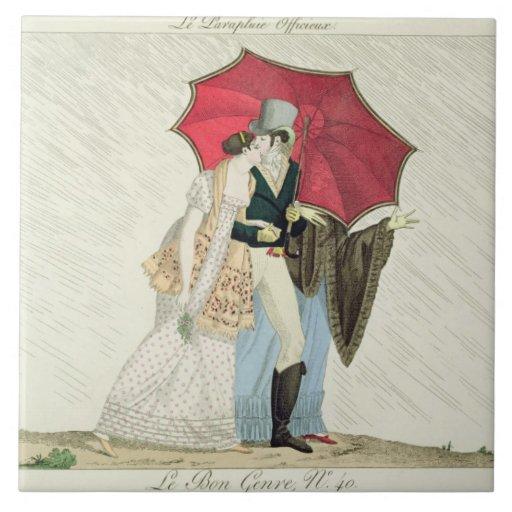 The Obliging Umbrella, plate 40 from 'Le Bon Genre Tiles