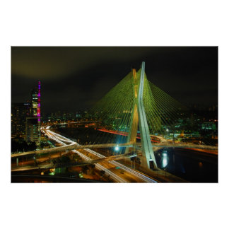 The Octavio Frias de Oliveira bridge Sao Paulo Poster