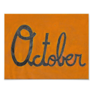 The October Cursive Drawing Poster
