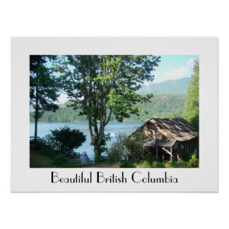 The Old Boathouse in British Columbia with Text Poster