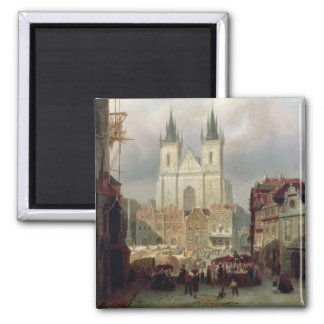 The Old Market Place at Prague, 1881 (oil on canva Square Magnet