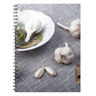 The old saucer, garlic and spices spiral notebook