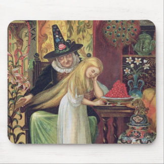 The Old Witch combing Gerda's hair with a golden c Mouse Pad