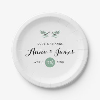 The Olive Spring Wedding Paper Plate